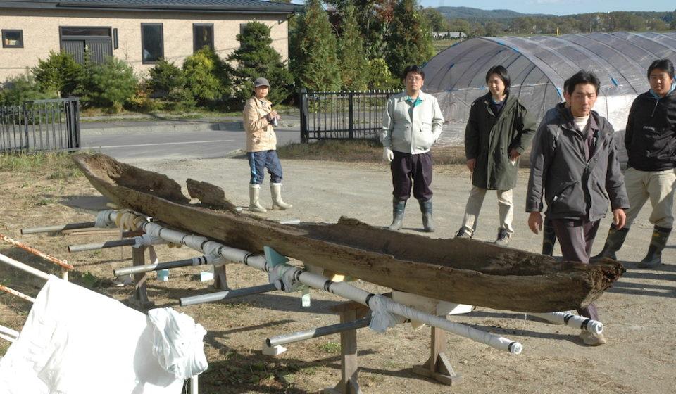 考古学の調査現場にも積極的に足を運び、多くを学ぶ。画像は2007年に厚真町で発見された15世紀の丸木舟保存作業。